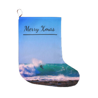 Surf's Up- Merry Christmas Large Christmas Stocking