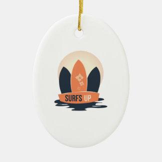 Surfs Up Ceramic Oval Ornament