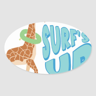Surfs Up Oval Sticker