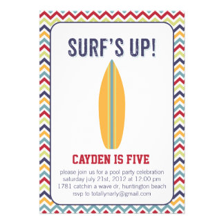 Surfs Up Pool Party Invitation