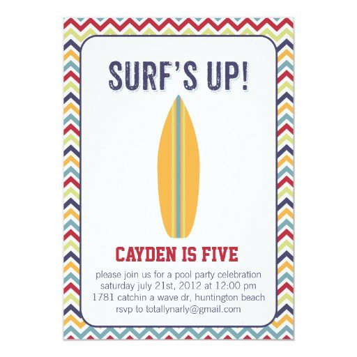 Surfs Up. Pool Party Invitation
