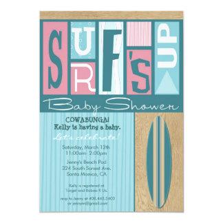 Surf's Up Retro Baby Shower Invitation - Pink