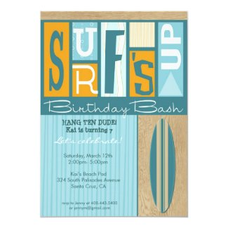 Surf's Up Retro Birthday Party Invitation
