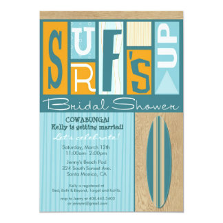 Surf's Up Retro Bridal Shower Invitation