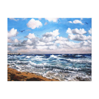 """""""SURF'S UP""""  SEA OIL PAINTING ON WRAPPED CANVAS CANVAS PRINT"""