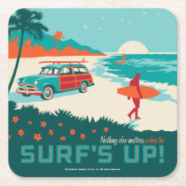 Surf's Up Square Paper Coaster