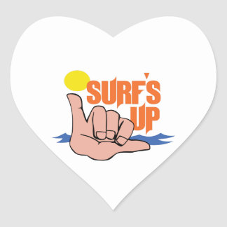 SURFS UP HEART STICKERS