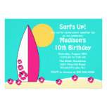 Surf's Up Surfboard Swimming Birthday Invitation