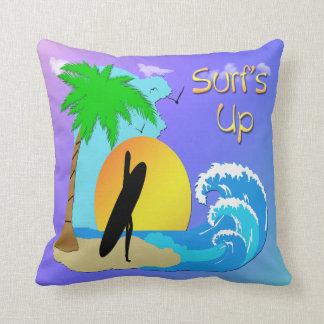 "Surfs Up - Surfer Girl 20""x20"" Throw American MoJo Throw Pillow"