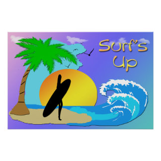 Surfs Up - Surfer Girl 36x24 Poster