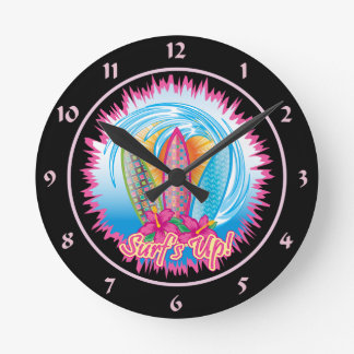 Surf's Up - Surfer Girl Round Wall Clock