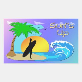 Surfs Up - Surfer Girl Rectangle Sticker