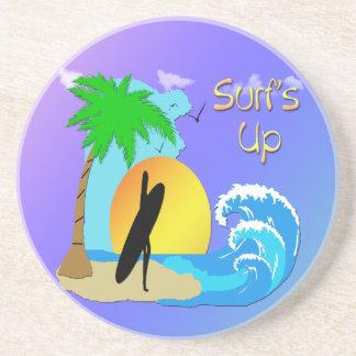 Surfs Up - Surfer Girl Sandstone Coaster