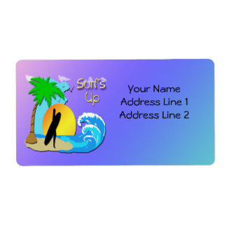 Surfs Up - Surfer Girl Shipping Label