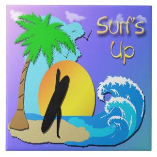 Surfs Up - Surfer Girl Tile/Trivet Ceramic Tile
