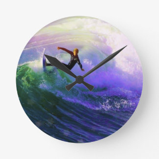 SURFS UP  surfer surfing catching a wave Round Wall Clocks