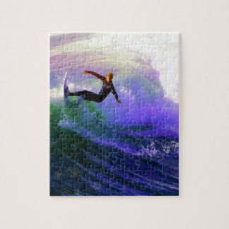 SURFS UP  surfer surfing catching a wave Puzzle