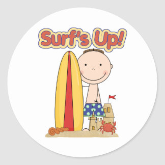 Surf's Up Surfing Gift Classic Round Sticker