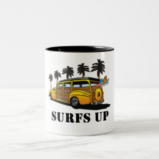 surfs up Two-Tone coffee mug