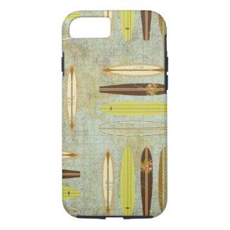 Surf's up! Vintage, distressed surfboard design iPhone 7 Case