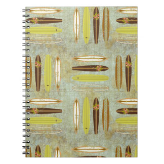 Surf's up! Vintage, distressed surfboard design Notebook