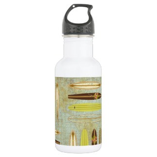 Surf's up! Vintage, distressed surfboard design Stainless Steel Water Bottle