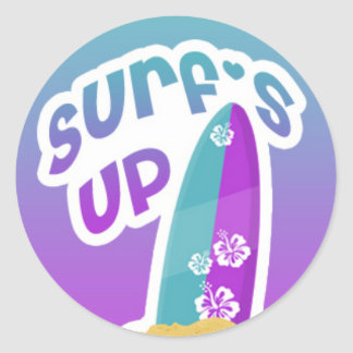Surfs Up with Colorful Surf Board Classic Round Sticker