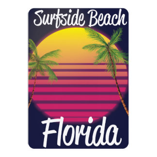 surfside beach florida vintage travel poster card