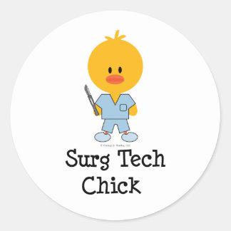 Surg Tech Chick Stickers  Classic Round Sticker
