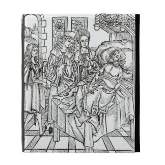 Surgeon and assistants visit a badly wounded man, iPad folio cover