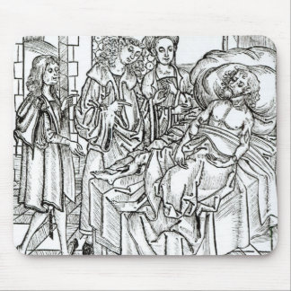 Surgeon and assistants visit a badly wounded man, mouse pad