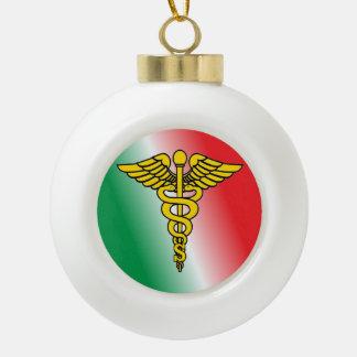 Surgeon Caduceus Shield Ceramic Ball Christmas Ornament