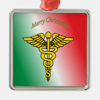 Surgeon Caduceus Shield Metal Ornament