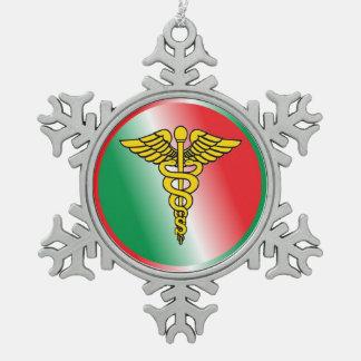 Surgeon Caduceus Shield Snowflake Pewter Christmas Ornament