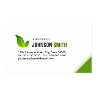 Surgeon - Elegant Green Leaf Business Card Templates