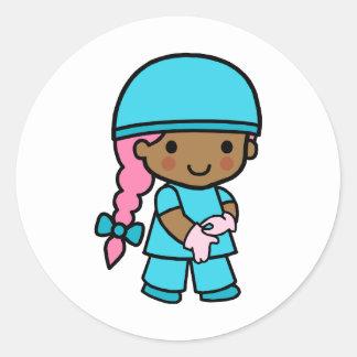 Surgeon Girl Round Stickers