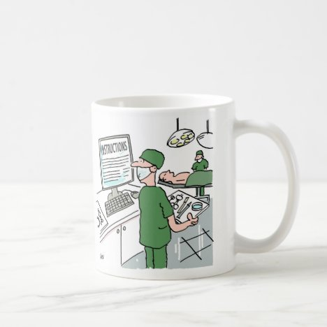 Surgeon Looks at Instructions before Operation Coffee Mug