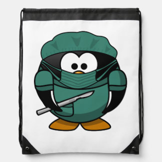 Surgeon Penguin Cartoon Cinch Bags