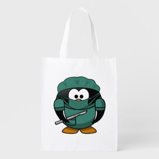 Surgeon Penguin Cartoon Grocery Bags