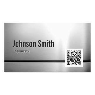 Surgeon - Stainless Steel QR Code Double-Sided Standard Business Cards (Pack Of 100)