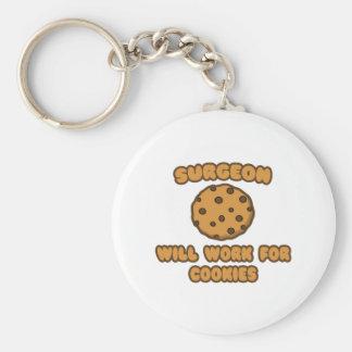 Surgeon .. Will Work for Cookies Basic Round Button Keychain