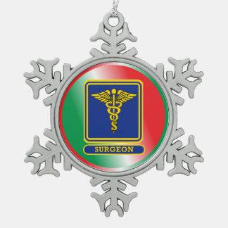 Surgeons Caduceus Shield Snowflake Pewter Christmas Ornament