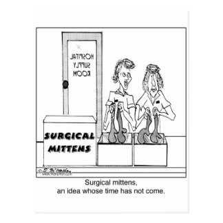 Surgical Mittens Hospital Cartoon Postcard