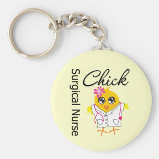 Surgical Nurse Chick v2 Basic Round Button Keychain