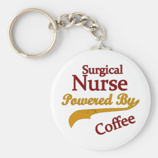 Surgical Nurse Powered By Coffee Basic Round Button Keychain