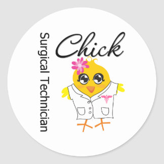 Surgical Technician Chick Round Stickers