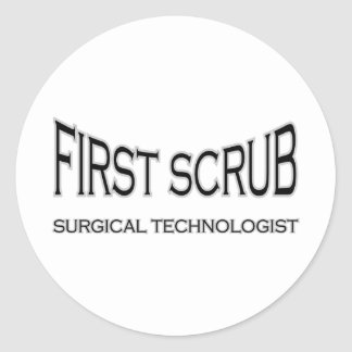 Surgical Technologist - First Scrub (black) Classic Round Sticker