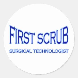 Surgical Technologist - First Scrub (blue) Classic Round Sticker
