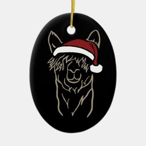 Suri with Santa Hat Christmas Ornaments