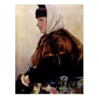 Surikov-Retrato de Vasily de la mujer joven en abr Tarjeta Postal